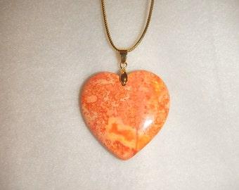 Heart-shaped Peach-Orange Jasper pendant necklace (JO308)