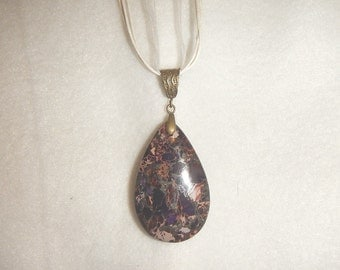 Teardrop Dark Purple Sea Sediment Jasper with Pyrite pendant necklace (JO365)