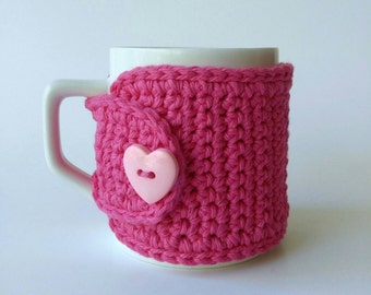 Coffee Mug Cozy in Hot Pink Cotton