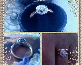 Vintage Art Deco Diamond Engagement Ring, SOLD Halo Main Diamond .20 Carat, 9K Gold Ring, 1cm Wide White Gold Setting, Size K, SOLD