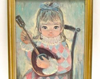 Vintage Big Eye Kitsch Keane inspired  Girl
