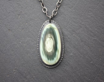 Royal Imperial Jasper, Sterling Silver Pendant with Coined edge