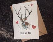 Deer Valentines card - Puddle Paints design - watercolour print - woodland design stag
