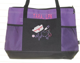 Personalized Nurse Tote Bag Bags; Monogrammed RN LPN CNA nurse doctor gifts