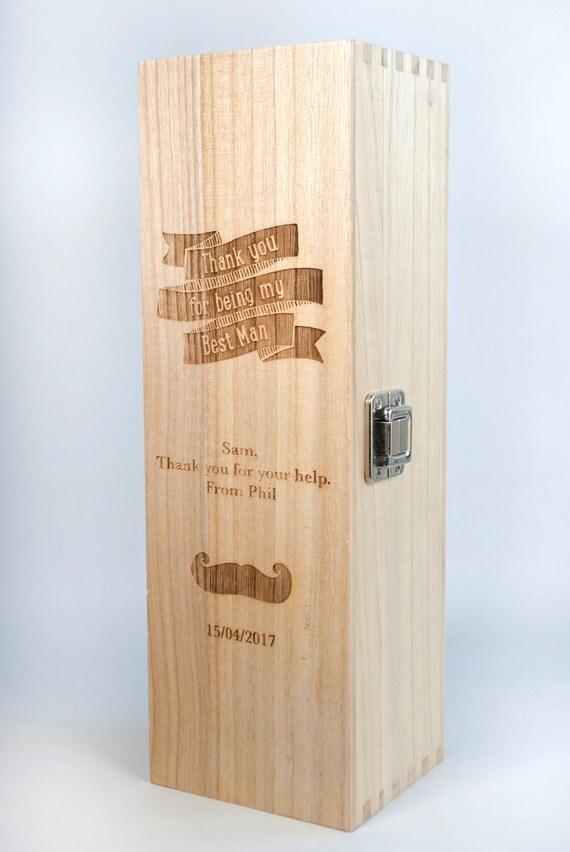 Personalised Wedding Gift Oak Bottle Box : Personalised Wine Bottle BoxWedding Gift- Best Man thank you gift ...