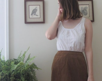 High Waisted Faux Suede Skirt