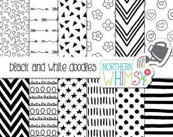 Black and White Digital Paper - hand drawn seamless patterns - flowers, hearts, stars, & chevron - doodle scrapbook paper - commercial use