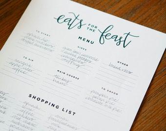 Thankgiving Shopping List