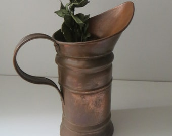 Vintage french  primitive Copper Pitcher jug - Normandy shabby chic- handmade