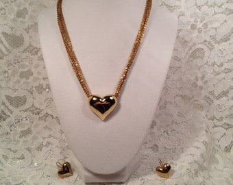 Unusual Avon Heart Necklace and Matching Heart Earrings, Gold Tone Avon Multi Chain Heart Necklace.