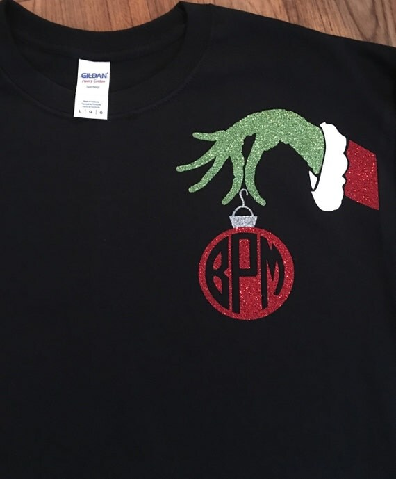 mr grinch ornament monogram shirt