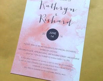 Engagement Invitation - orange peach watercolor design