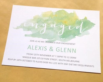 Engagement Invitation - green mint watercolor design