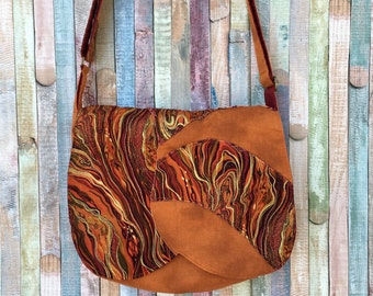 Bohemian messenger bag, Shoulder bag, Orange crossbody bag