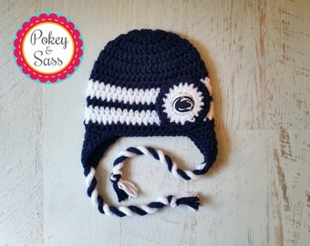 Penn State University Crochet Baby Earflap Hat, Newborn to Toddler Sizes, Nittany Lions