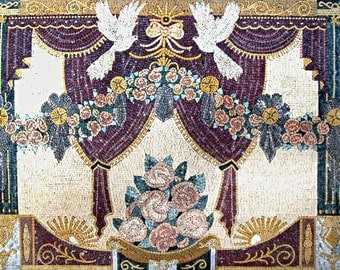 Flowers and Doves Mosaic Marble