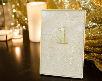 Ivory & Gold Framed Table Numbers 1-11