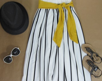 Girls Black Striped Maxi Skirt with Mustard Sash, Girls Long Maxi Skirt, Girls Striped Skirt - Sizes 4/5, 6/6X, 7/8, 10/12 - Ready to Ship