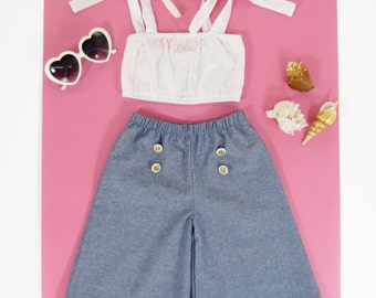 Girl Chambray Culottes and Crop Top Set, Toddler Set, Girls Summer Set, Toddler Boho Set Sizes - 12/18m, 2/3, 4/5, 6/6X Ready to Ship