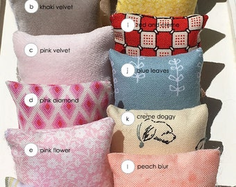 1 3/4 square inch Miniature Dollhouse Single Throw Pillow - Assortment One of Each