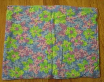 Baby Burp Cloth / Pet Carrier Liner / Blue,Green, Purple Flowers