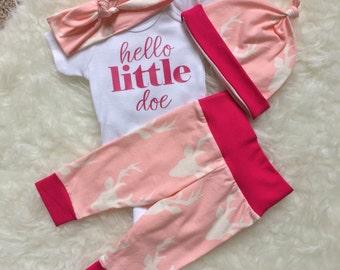 Going Home Outfit, Hello World, Newborn Set, Personalized Bodysuit, Newborn Going Home Outfit Baby Girl, Oh Deer, Hello Little Doe