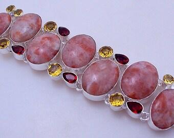 free shipping F-345 Jasper-Garnet-Citrine .925 Silver Handmade Jewelry Bracelet 67 Gr.