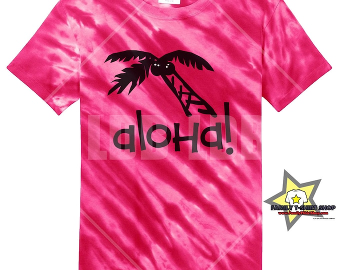 Aloha Palm Tree Hawaiian Tie Die T-Shirt