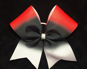 Black, Red and White Ombre Sublimated Cheer Bow