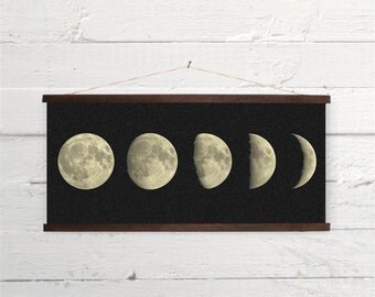 Moon Phases Lunar Phases  Astronomy Canvas Poster Print Wooden Wall Chart