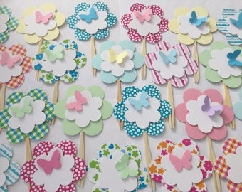Flower with butterfly cupcake toppers,  3D cupcake topper, party supply, set of 24