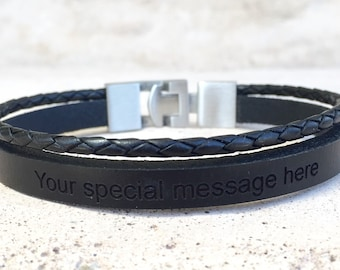 Men Leather Bracelet,Engraved Bracelet,Bangles,Bracelets ,Jewelry,Free Shipping,Jewelry for Men,Black Leather,Stainless Steel,Braided