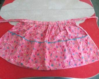 Pink Half Apron With Kitchen Print