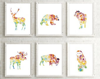Forrest Animal Set - Deer Moose owl bear wolf bison Watercolor illustration - Set 6 prints - Nursery Animal painting - Bright colors -