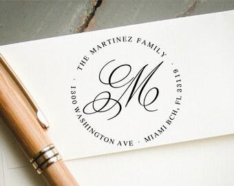 Monogram Self Inking Return Address Stamp, Custom Pre-inked Stamp, Personalized Stamp, Custom Rubber Stamp, Wedding Stamp, Bridal Shower