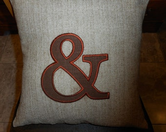 AMPERSAND AND Pillow Applique LINEN Pillow Cover 16 x 16