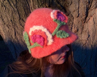 Coral Flowery Felted Wool Hat