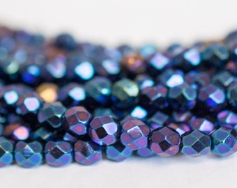 25 6mm Iris Blue Czech Glass Beads, Fire Polished, Faceted Czech Beads, Jewelry Making, Beading, Glass Beads, Craft Supplies, Glass, Beads