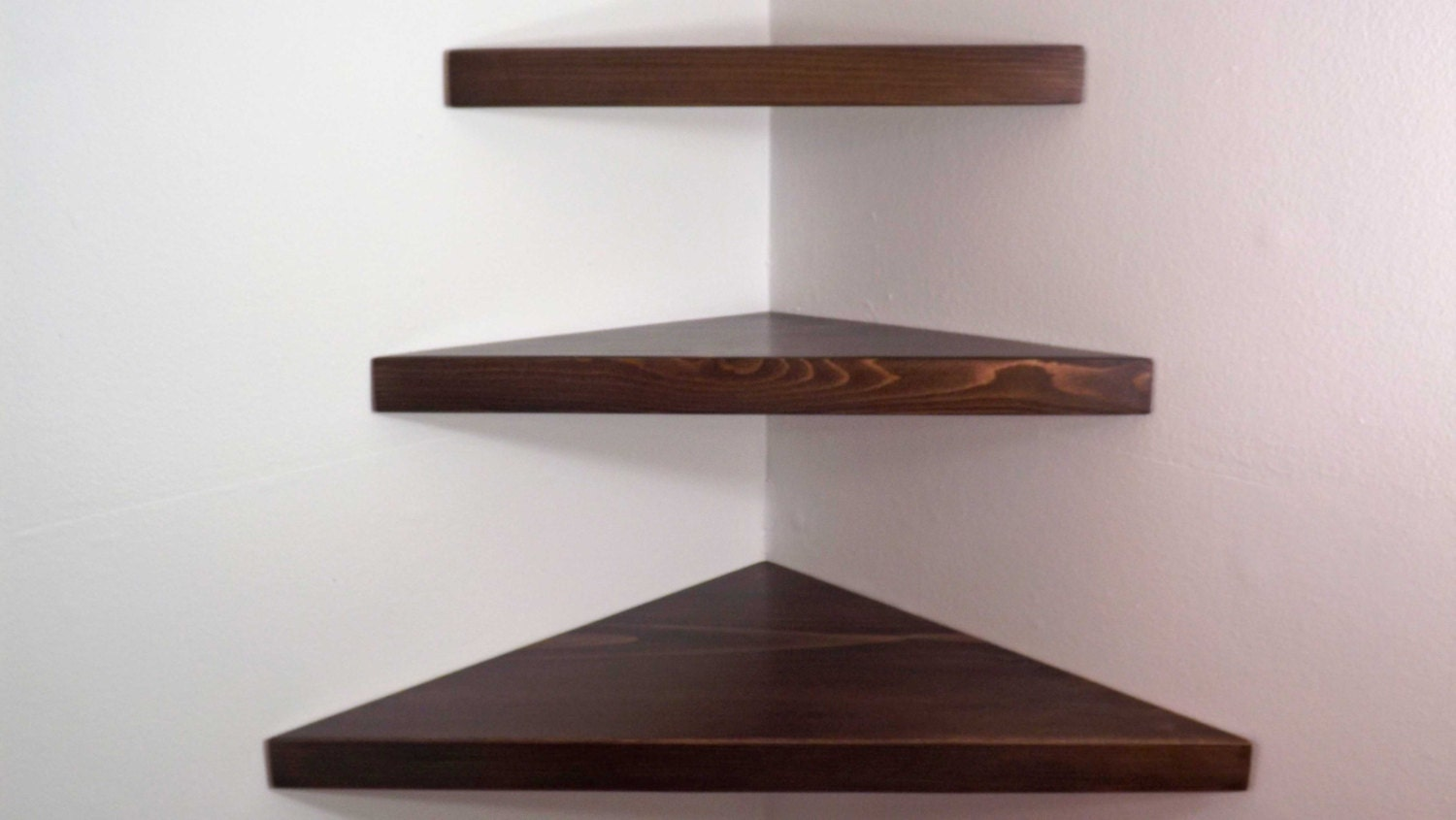 3 Piece Set Floating Corner Shelves with Espresso Stain Handmade in the USA