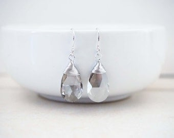 SALE // Grey Crystal Faceted Earrings | Wedding Earrings | Bridesmaid Earrings