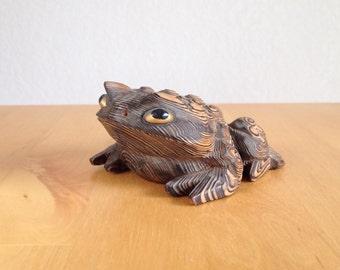Vintage Japanese Cryptomeria Wood Toad / Frog