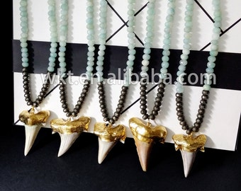 WT-N327 New design!! Mystic amazonite beads necklace with real shark tooth