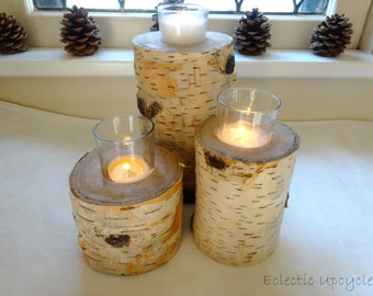Birch Log Candle Holders - Set of Three  All Natural - With three coats of a clear water based sealer.