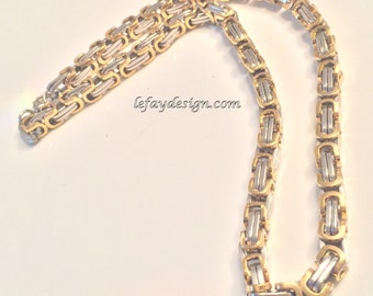 Stainless Steel Byzantine style Necklace Chainmaille bicolor