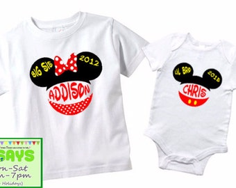 Sibling #2 - Big Sister and Little Brother Disney Personalized shirts