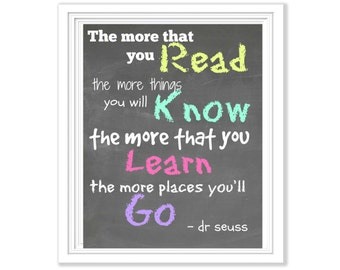 Dr. Seuss Chalkboard Printable: The More that You Read...
