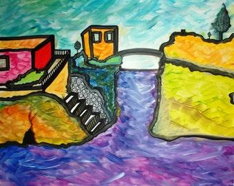 "Painting ""The G"", Naples, landscape pop version, modern."