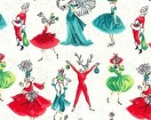 Holiday Fabric - Holiday Gals in Cream by Michael Miller Fabrics - 1/2 Yard
