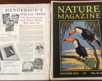 Vintage Nature Magazines with Art Deco Style Binder - Published by American Nature Association - 1929 to 1931