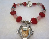 Kitty Picture Frame Hearts Memory Bracelet,Beaded Cat Bracelet,Pet Loss Bracelet